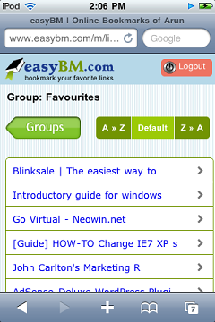 Online bookmarks on the mobile phone